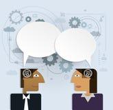 Hombres de negocios del ejemplo del vector con la burbuja del discurso ne social ilustración del vector