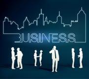 Hombres de negocios del equipo con la línea de ciudad Imagenes de archivo
