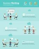 Hombres de negocios del equipo de Infographic del sistema de trabajo de la nube ilustración del vector