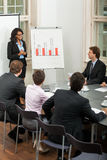 Hombres de negocios del equipo en plan de la presentación de la oficina foto de archivo