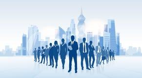 Hombres de negocios del grupo de ciudad de Panamá del rascacielos de la silueta libre illustration