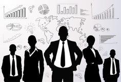 Hombres de negocios del grupo del negro del gráfico de la silueta stock de ilustración
