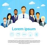 Hombres de negocios del grupo Team Cloud Copy Space Flat Imagen de archivo