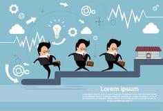 Hombres de negocios del grupo Team Walking Stairs Up stock de ilustración
