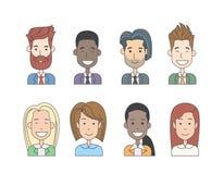 Hombres de negocios del perfil del icono del hombre del garabato de la mujer Imagenes de archivo