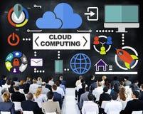 Hombres de negocios del seminario de la nube de las comunicaciones globales que computa el Co ilustración del vector