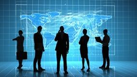 Hombres de negocios delante del interfaz del negocio global ilustración del vector