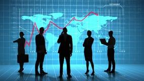Hombres de negocios delante del interfaz del negocio global libre illustration