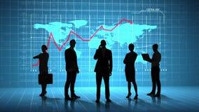 Hombres de negocios delante del interfaz del negocio global stock de ilustración