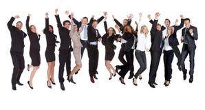 Hombres de negocios emocionados del grupo de personas Imagen de archivo libre de regalías