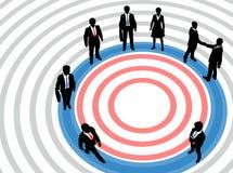 Hombres de negocios en círculo de la comercialización apuntada stock de ilustración