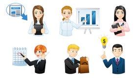 Hombres de negocios en el trabajo - sistema del avatar del icono stock de ilustración