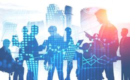 Hombres de negocios en la ciudad, infographics stock de ilustración