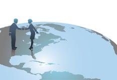Hombres de negocios en la reunión del globo del mundo en los E.E.U.U. Foto de archivo libre de regalías