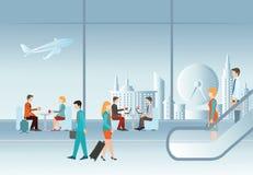 Hombres de negocios en terminal de aeropuerto ilustración del vector