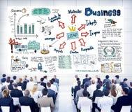 Hombres de negocios en un seminario sobre la dirección Fotos de archivo