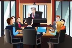 Hombres de negocios en una videoconferencia ilustración del vector