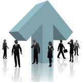 Hombres de negocios ENCIMA del progreso del trabajo en equipo de la flecha Imagen de archivo libre de regalías
