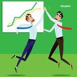 Hombres de negocios felices que dan cinco ilustración del vector
