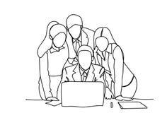 Hombres de negocios garabato de la reunión de la discusión o de reflexión de Team Looking At Laptop Computer ilustración del vector
