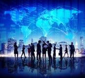 Hombres de negocios globales de acción de la bolsa de las finanzas del concepto de la ciudad Fotografía de archivo