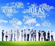 Hombres de negocios globales de la discusión de la creatividad del concepto de las ideas Imagen de archivo libre de regalías