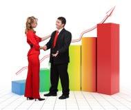 Hombres de negocios - gráfico financiero 3d Imagenes de archivo
