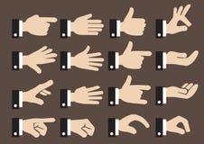 24 hombres de negocios Hand Signs y sistema del icono del vector de los gestos Imágenes de archivo libres de regalías