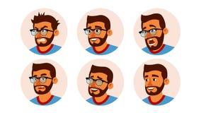 Hombres de negocios hindúes del vector de Avatar del carácter Cara barbuda del hombre, emociones fijadas Placeholder creativo de  ilustración del vector