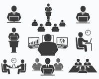 Hombres de negocios Iconos de la oficina, conferencia, trabajo del ordenador Imagen de archivo libre de regalías