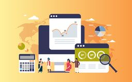 Hombres de negocios indios del gráfico del diagrama de las finanzas de datos de la calculadora del análisis que trabaja junto ins libre illustration