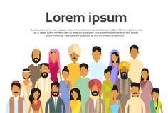 Hombres de negocios indios del grupo, muchedumbre Team Copy Space de la India ilustración del vector