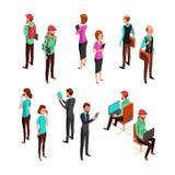 Hombres de negocios isométricos 3d aislados Sistema profesional del vector del trabajo en equipo del hombre y de la mujer de la o libre illustration