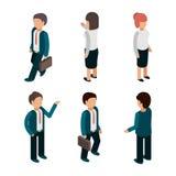 Hombres de negocios isométricos El varón de los trabajadores de los administradores de oficinas y los líderes de sexo femenino de stock de ilustración