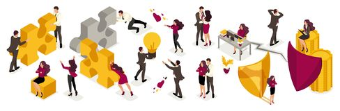Hombres de negocios isométricos en trajes con emociones libre illustration