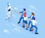 Hombres de negocios isométricos y robot que luchan con inteligencia artificial en traje para tirar de la cuerda, competencia, con stock de ilustración