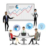 Hombres de negocios de la presentación Flip Chart Finance del grupo Fotografía de archivo libre de regalías