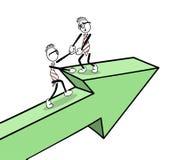 Hombres de negocios lindos de la historieta en una flecha stock de ilustración