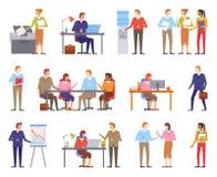 Hombres de negocios de los varones y hembras que trabajan vector ilustración del vector