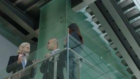 Hombres de negocios multiétnicos que hablan en el edificio de oficinas almacen de metraje de vídeo
