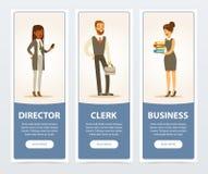 Hombres de negocios, personal de la compañía, banderas del negocio para el folleto de publicidad, cartel promocional del prospect libre illustration