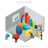 Hombres de negocios planos isométricos del diagrama de los datos del vector stock de ilustración