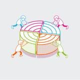 Hombres de negocios planos isométricos del diagrama de los datos del vector libre illustration