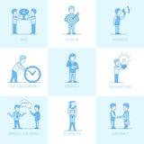 Hombres de negocios planos lineares del objeto del illustra del vector Imagen de archivo