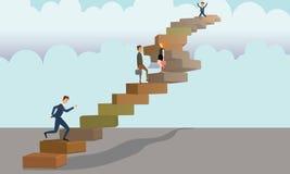 Hombres de negocios que caminan, funcionando con y subiendo las escaleras concretas en bandera del fondo del cielo con las nubes stock de ilustración