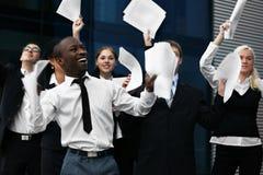 Hombres de negocios que celebran su éxito Fotografía de archivo libre de regalías