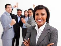 Hombres de negocios que celebran un éxito Imagen de archivo libre de regalías