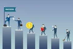 Hombres de negocios que colocan al equipo financiero de los empresarios del concepto del grupo del gráfico de barra libre illustration