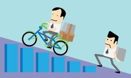 Hombres de negocios que compiten y que intentan al éxito Imágenes de archivo libres de regalías