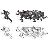 Hombres de negocios que corren después de su ejemplo del vector del encargado Fotos de archivo libres de regalías